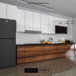 Contoh kitchen set minimalis kombinasi finishing