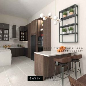Kitchen set HPL motif kayu minimalis semi industrial ID4525PT