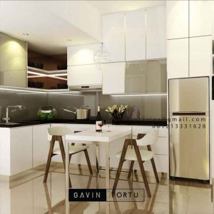 Kitchen set minimalis Finishing HPL warna putih glossy D4514T
