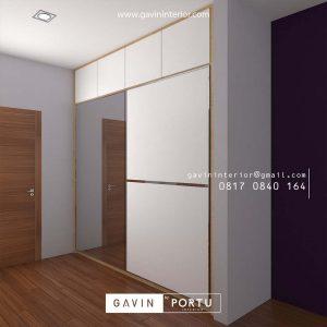 lemari minimalis 2 pintu sliding full plafon