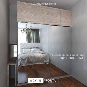 lemari siliding kaca 2 pintu model minimalis