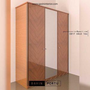 lemari sliding 2 pintu finishing HPL tekstur & kaca cermin