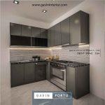 model kitchen set minimalis letter L kombinasi finishing