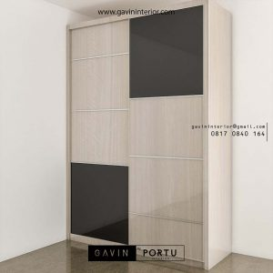 model lemari sliding 2 pintu finishing HPL motif kayu & HPL hitam