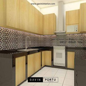 Kitchen Set HPL Motif Kayu Project Griya Loka BSD Serpong Tangerang Selatan id5609P
