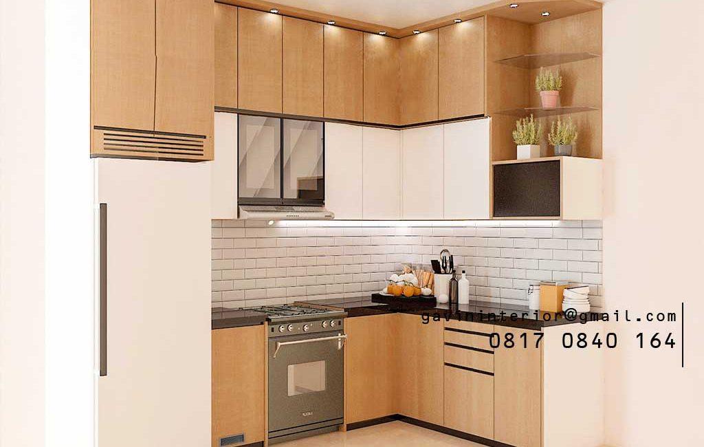 Kitchen Set Minimalis Putih & Motif Kayu Bintaro Sektor 4 Pondok Aren Tangerang