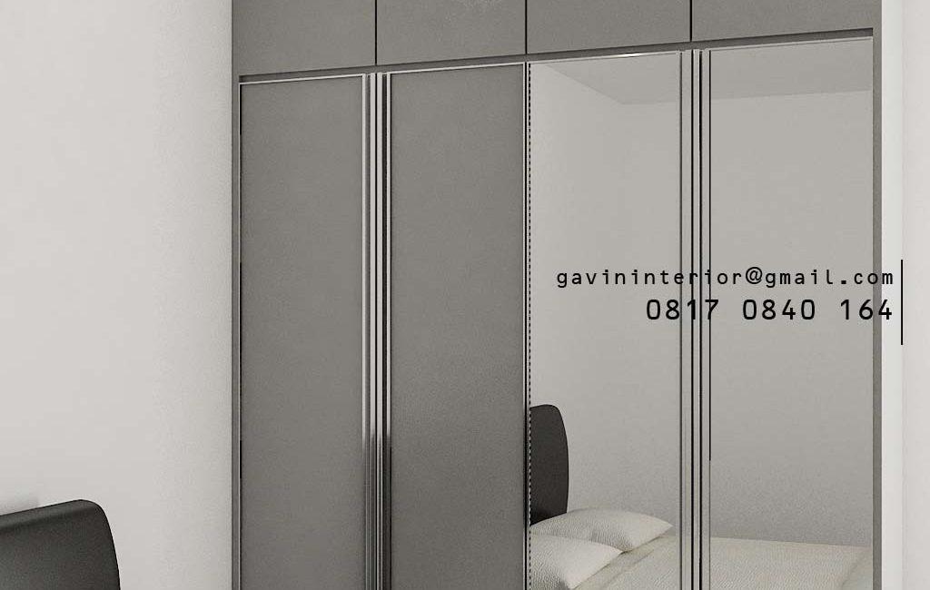 Lemari Pakaian Minimalis Light Grey Apartemen Veranda Residence at Puri Kembangan