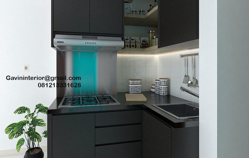 Kitchen Set Minimalis Murah Warna Black Apartemen Emerald Bintaro Pondok Aren