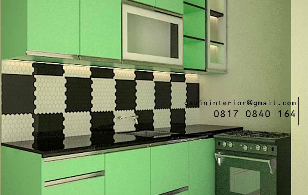 Model Kitchen Set Minimalis Light Green Perumahan Amaya Town House Cipedak Jagakarsa