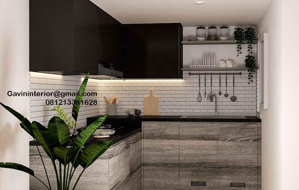 Pembuatan Kitchen Set Motif Kayu & Black Komplek Agraria Kebayoran Lama Jakarta