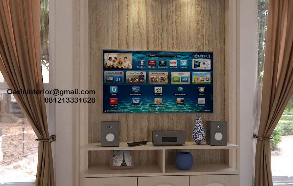 Backdrop TV Mewah Semi Klasik Coklat Komplek Graha Alam Indah Kramat Jati Jakarta
