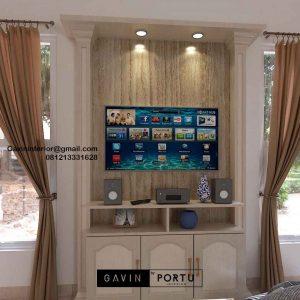 Backdrop TV Mewah Semi Klasik Coklat Komplek Graha Alam Indah Kramat Jati Jakarta ID4954P