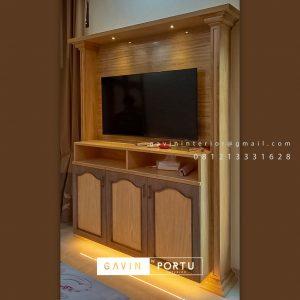 Buat Backdrop TV Mewah Semi Klasik Coklat Komplek Graha Alam Indah Kramat Jati Jakarta ID4954P