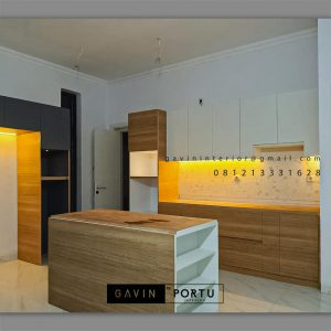 Jasa Kitchen Set Minimalis Motif Kayu & Putih Perumahan Taman Bona Indah Lebak Bulus Cilandak Id5031