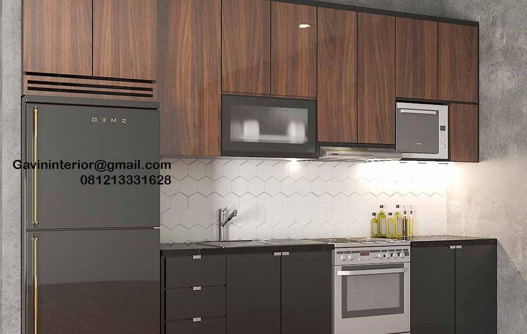 Kitchen Set HPL Grey & Motif Kayu Perumahan Kayu Putih Residence Pulo Gadung