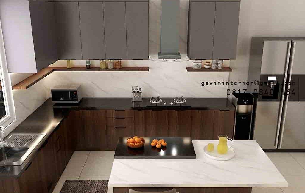 Kitchen Set Minimalis Motif Kayu & Grey Perumahan Kayu Putih Pulo Gadung Jakarta