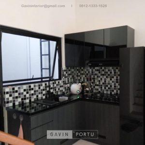 Buat Kitchen Set HPL Motif Kayu Hitam Kompleks Elysian Residence Pasar Minggu Jakarta ID4852P