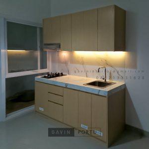 Buat Kitchen Set Minimalis Motif Kayu Perumahan Darmawangsa Residence Tambun Utara Bekasi ID5144