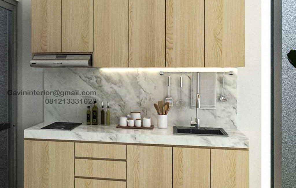 Buat Kitchen Set Minimalis Motif Kayu Perumahan Darmawangsa Residence Tambun Utara