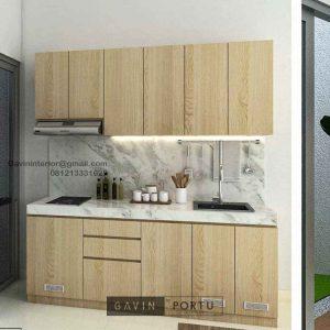 Buat Kitchen Set Minimalis Motif Kayu Perumahan Darmawangsa Residence Tambun Utara ID5144