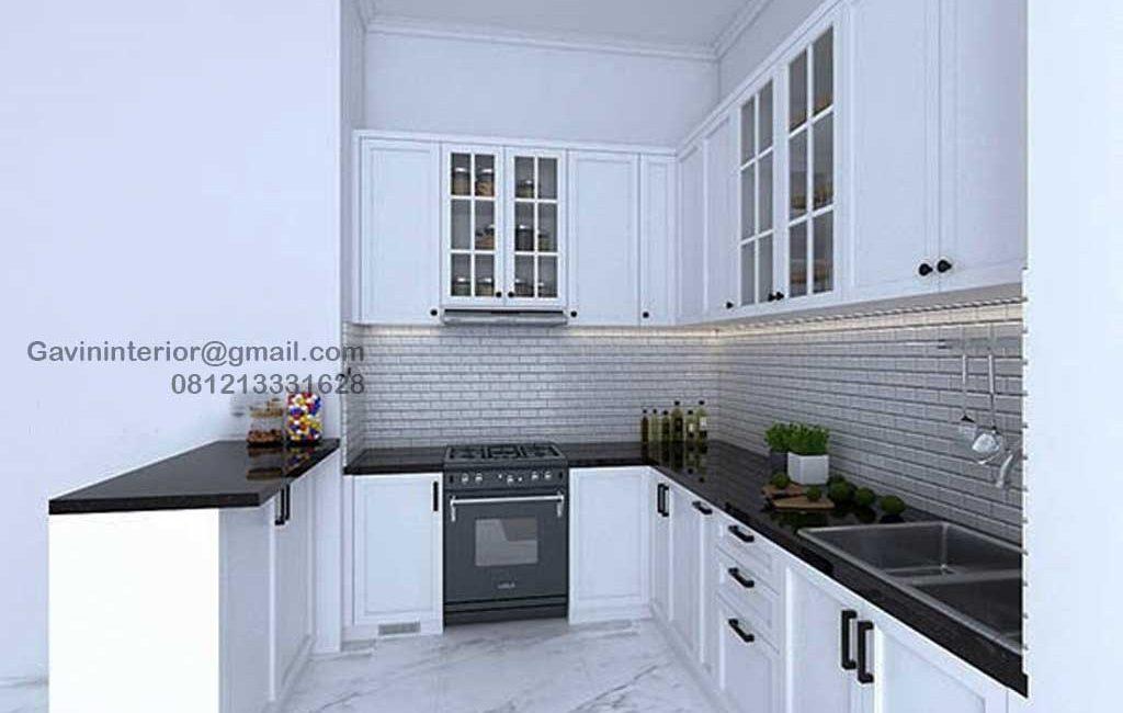 Design Kitchen Set Klasik Putih Perumahan Pesona Khayangan Sukmajaya Depok