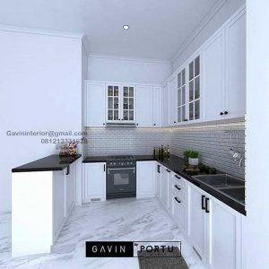 Design Kitchen Set Klasik Putih Perumahan Pesona Khayangan Sukmajaya Depok ID4901PT