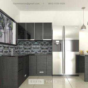 Kitchen Set HPL Motif Kayu Hitam Kompleks Elysian Residence Pasar Minggu Jakarta ID4852P