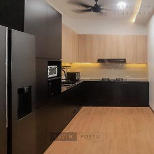 Jual Kitchen Set Black & Motif Kayu Perumahan Sunrise Garden Kebon Jeruk Jakarta Barat ID5155P