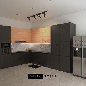 Jual Kitchen Set Black & Motif Kayu Perumahan Sunrise Garden Kebon Jeruk Jakarta ID5155P